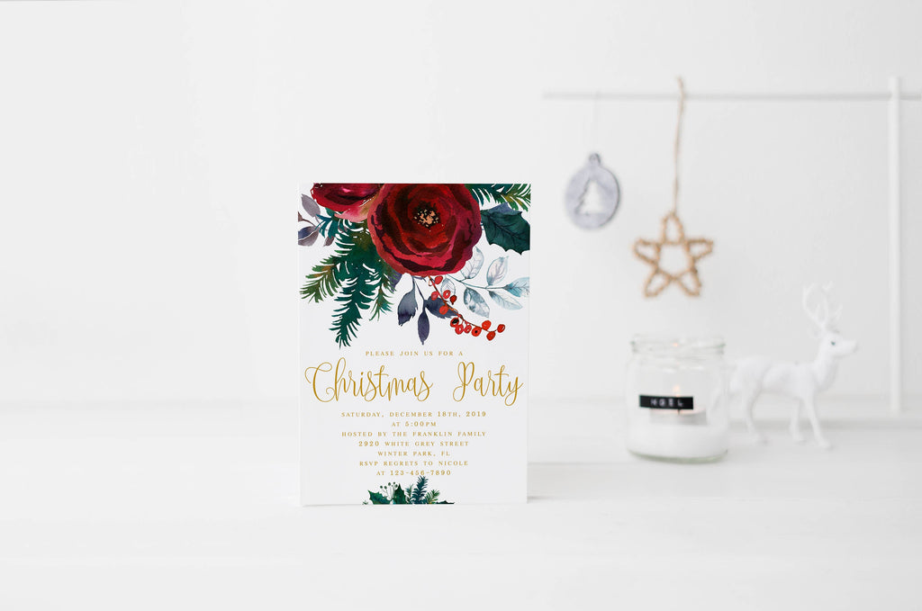 christmas party invitation template christmas floral invitation template christmas party invite floral red christmas holiday party