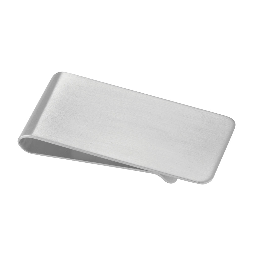 Rhodium Finish Satined Rectangle Money Clip