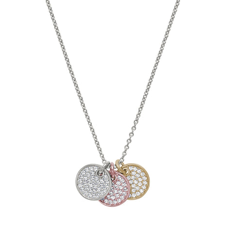 Gold & Rose Gold Vermeil & Platinum Finish Micropave 3 Circle Pendant with Simulated Diamonds