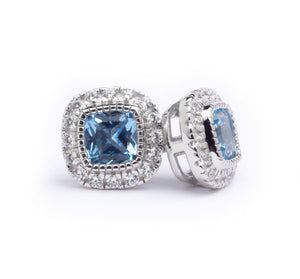 Platinum Finish Sterling Silver Micropave Simulated Birthstone Earrings with Simulated Diamonds