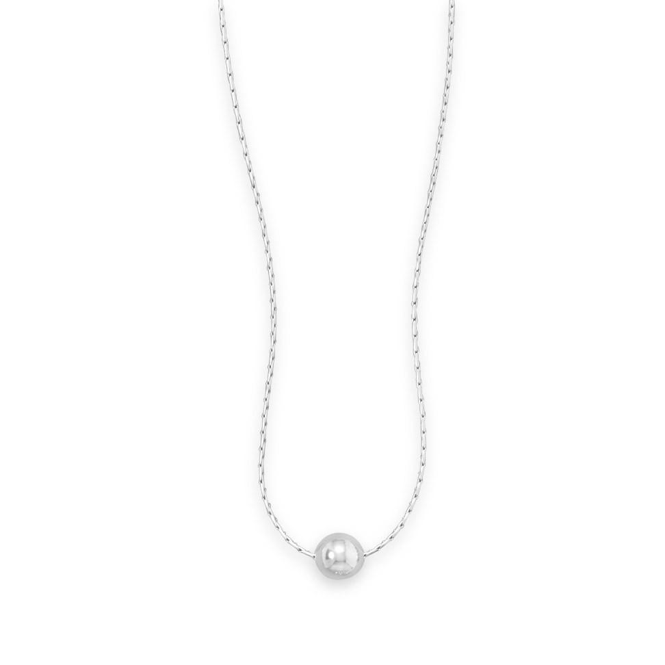 "16"" Rhodium Plated Necklace with Polished Bead"