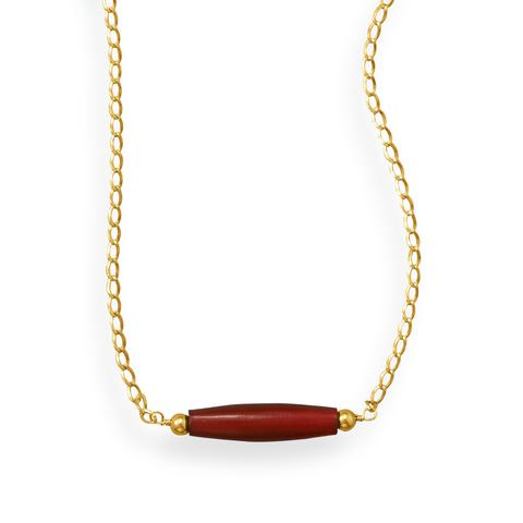 "16"" Handmade 14/20 Gold Filled Red Horn Necklace"