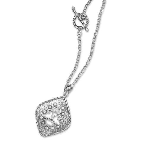 "18"" Oxidized Diamond Shape Drop Toggle Necklace"