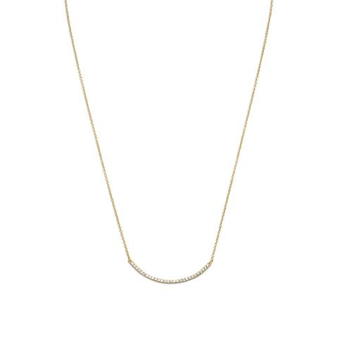 'Cristina' Curved Gold Over Silver CZ Bar Necklace