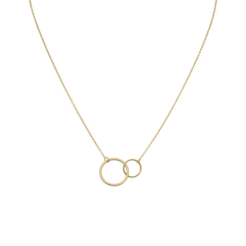"16"" + 2"" 14 Karat Gold Plated Circle Link Necklace"
