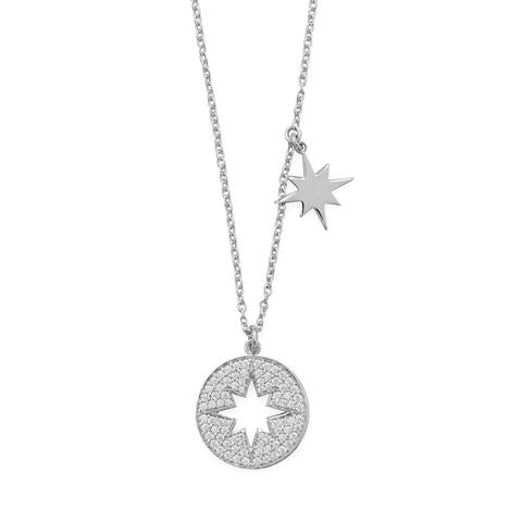 "16"" Rhodium Plated CZ Cut Out Starburst Necklace"