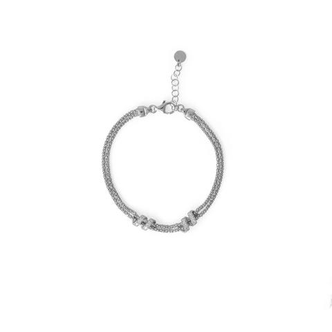 "7"" + 1"" Italian Rhodium Plated Coreana and CZ Bracelet"