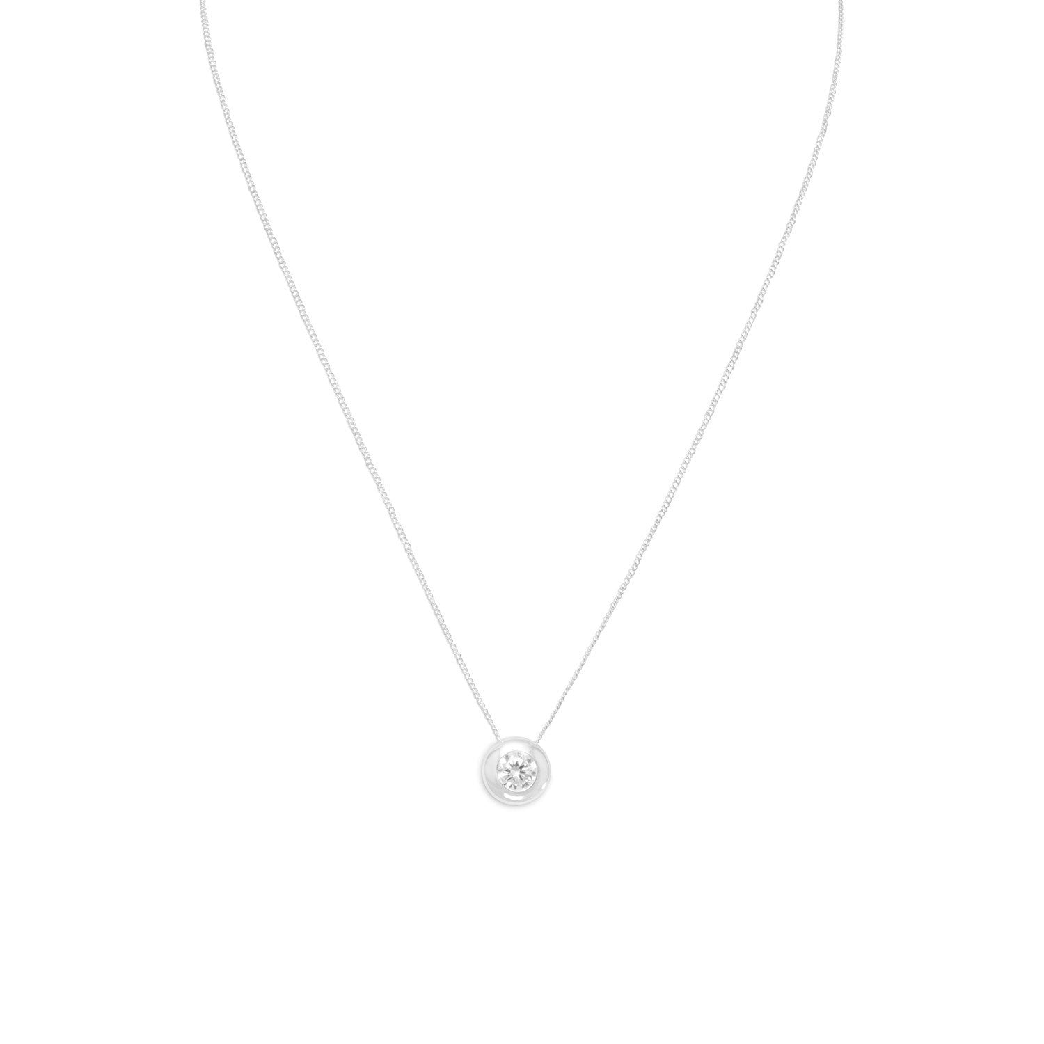 "16"" Necklace with 5mm Bezel Set CZ"