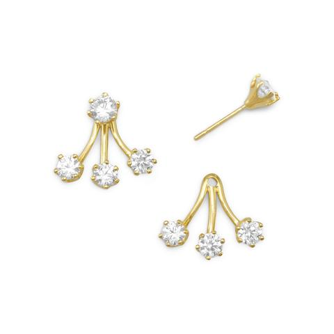 14 Karat Gold Plated CZ Front Back Stud Earrings