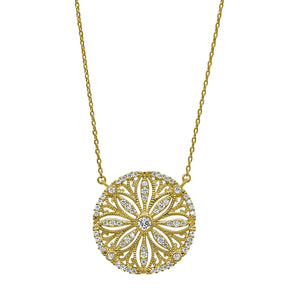 Gold Vermeil Finish Micropave Vintage Sand Dollar Necklace with Simulated Diamonds