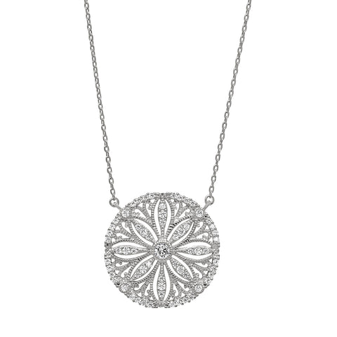 Platinum Finish Micropave Vintage Sand Dollar Necklace with Simulated Diamonds