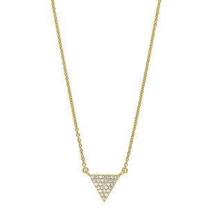 Gold Vermeil Finish Micropave Triangle Necklace with Simulated Diamonds