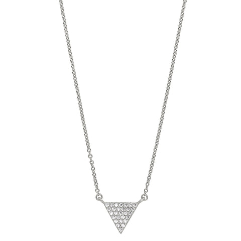 Platinum Finish Micropave Triangle Necklace with Simulated Diamonds