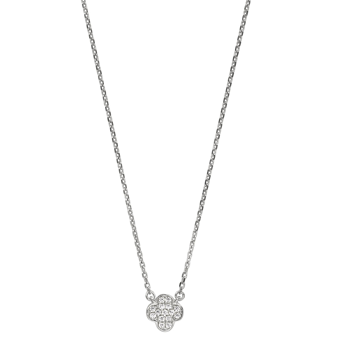 Platinum Finish Micropave Small Clover Shape Pendant with Simulated Diamonds