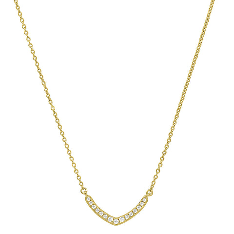Gold Vermeil Finish Micropave V Necklace with Simulated Diamonds