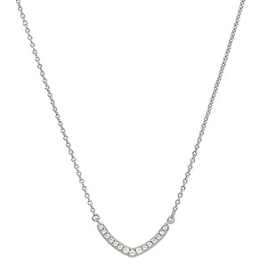 Platinum Finish  Micropave V Necklace with Simulated Diamonds