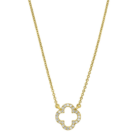 Gold Vermeil Finish Micropave Open Clover Necklace with Simulated Diamonds