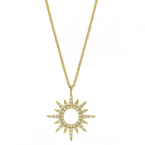 Gold Vermeil Finish Micropave Open Starburst Pendant with Simulated Diamonds