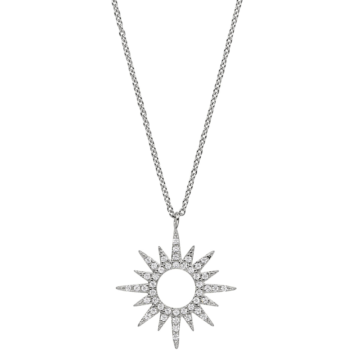 Platinum Finish Micropave Open Starburst Pendant with Simulated Diamonds