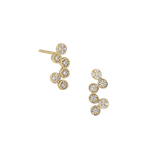 Gold Vermeil Finish Micropave Bubbles Earrings with Simulated Diamonds