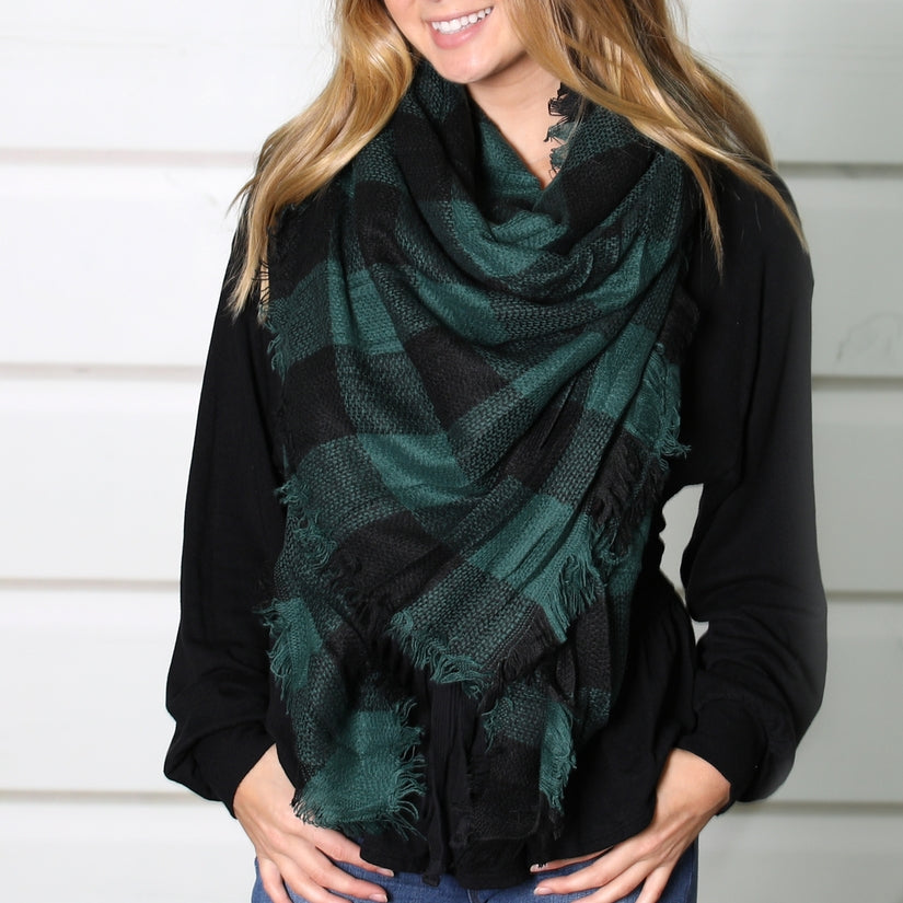 Blanket Scarf Collection - Green and Black Buffalo Check
