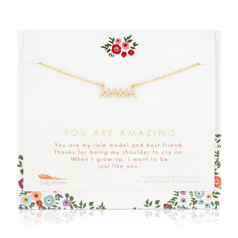 You Are Amazing, Mama - 14K Gold Plated Necklace & Card