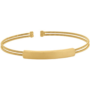 Gold Finish Cuff Bracelet With Name Plate