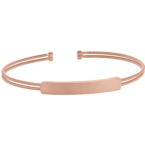 Rose Gold Finish Sterling Silver Cuff Bracelet With Name Plate