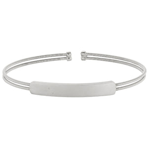 Rhodium Finish Sterling Silver Cuff Bracelet With Name Plate