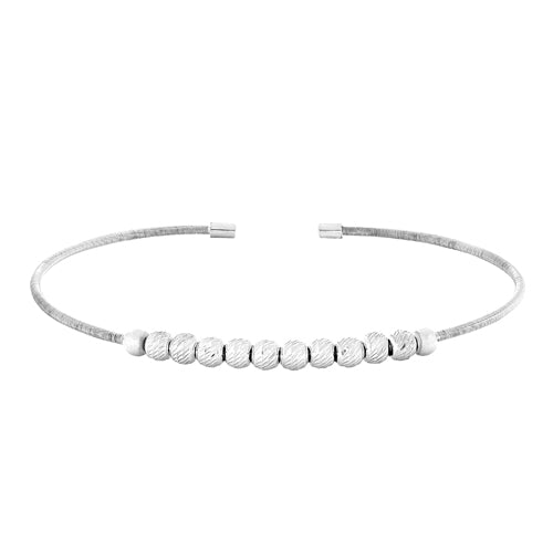 Rhodium Finish Sterling Silver Cuff Bracelet with Ten Diamond Cut Spinning Beads