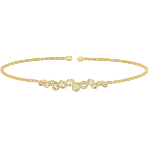 Gold Finish Cuff Bracelet with Bubble Pattern Simulated Diamonds