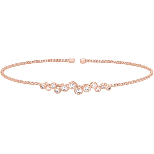 Rose Gold Finish Cuff Bracelet with Bubble Pattern Simulated Diamonds