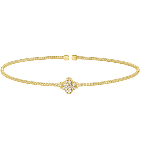 Gold Finish Cable Cuff Bracelet with Simulated Diamond Clover Design