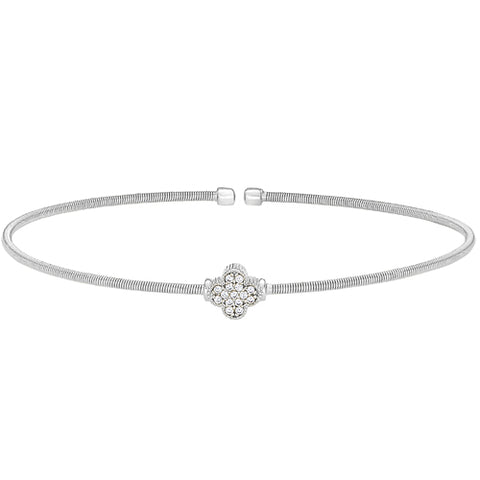 Sterling Silver Cable Cuff Bracelet with Simulated Diamond Clover Design