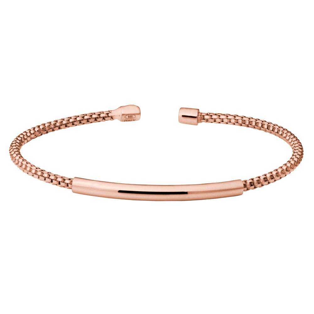 Rose Gold Finish Cuff Bracelet with High Polished Bar