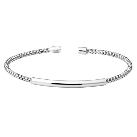 Rhodium Finish Sterling Silver Cuff Bracelet with High Polished Bar