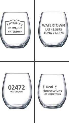 Watertown Themed Custom Etched Stemless Wine Glasses