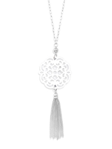 Allure Resin Pendant Necklace With Tassel- White