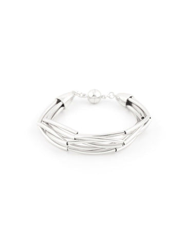 Metal Waves Bracelet - Silver Colored