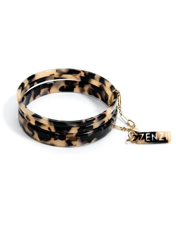 Tortoise Bangle Set - Black/ Tan