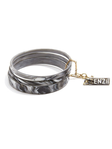 Tortoise Bangle Set - Gray