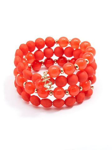 Matte and Glossy Beaded Bracelet - Flame