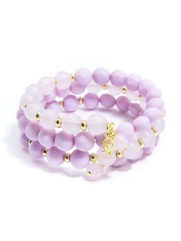 Matte and Glossy Beaded Bracelet - Lavender