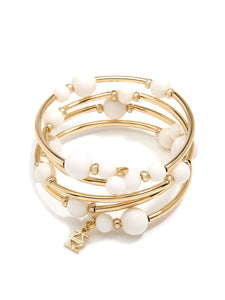 Beaded Metal Coil Bracelet - Cream