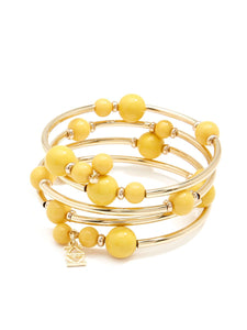 Beaded Metal Coil Bracelet - Yellow