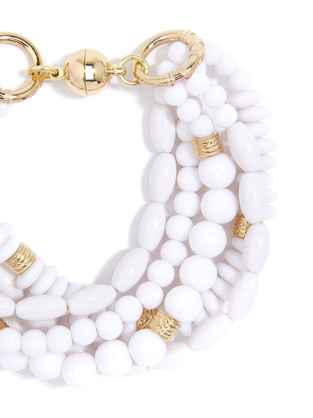 Mixed Beads Layered Bracelet - White