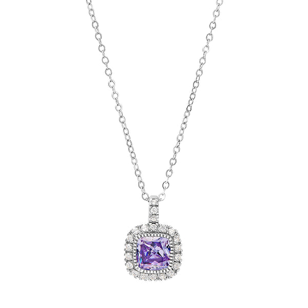 Platinum Finish Sterling Silver Micropave Simulated Birthstone Pendant with Simulated Diamonds