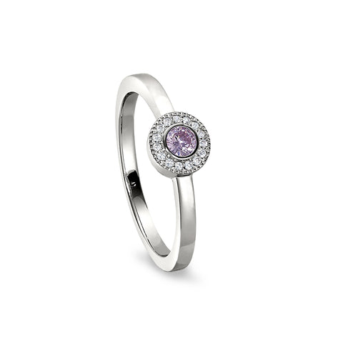 Sterling Silver Micropave Round Simulated October Birthstone Ring