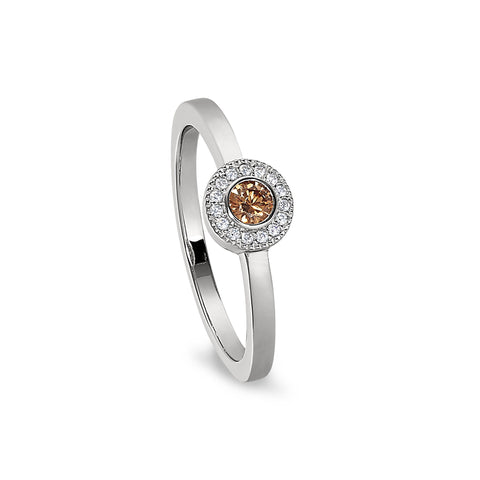 Sterling Silver Micropave Round Simulated November Birthstone Ring
