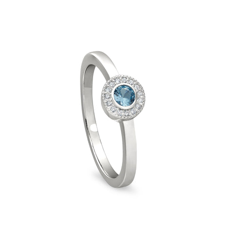 Sterling Silver Micropave Round Simulated December Birthstone Ring